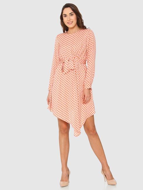 Peach Polka Dot Print Asymmetric Fit & Flare Dress