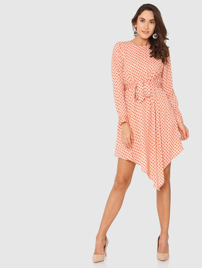Peach Polka Dot Print Asymmetric Fit & Flare Dress