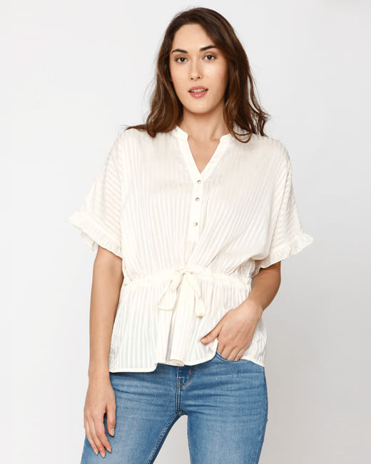 Off-White Striped Belted Top