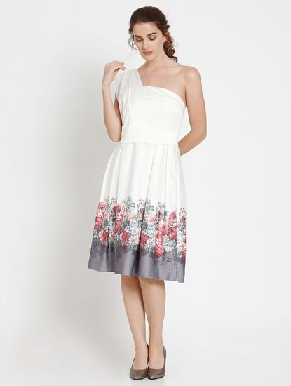 White Floral Print One Shoulder Fit & Flare Dress