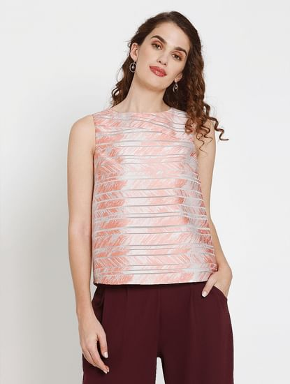 Peach Abstract Striped Print Top