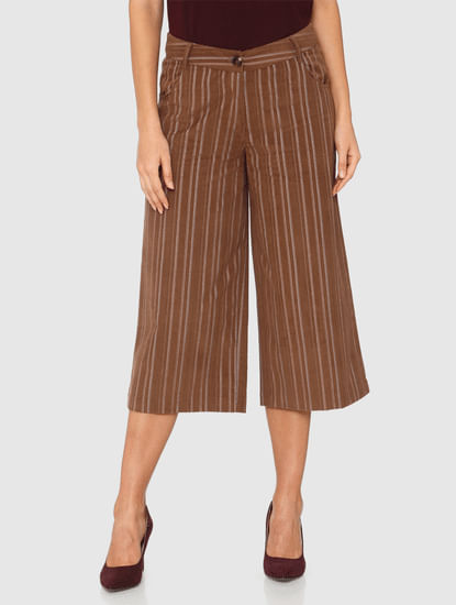 Brown Striped Culottes