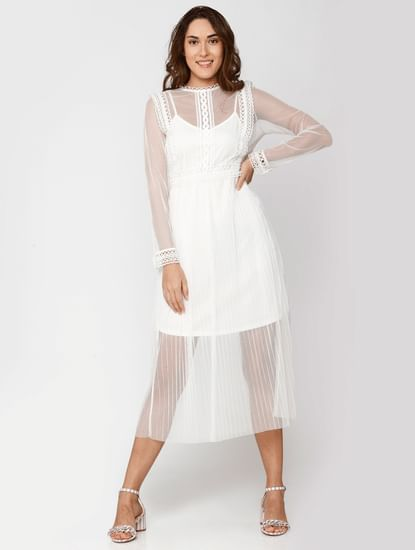 White Lace Sheer Midi Dress