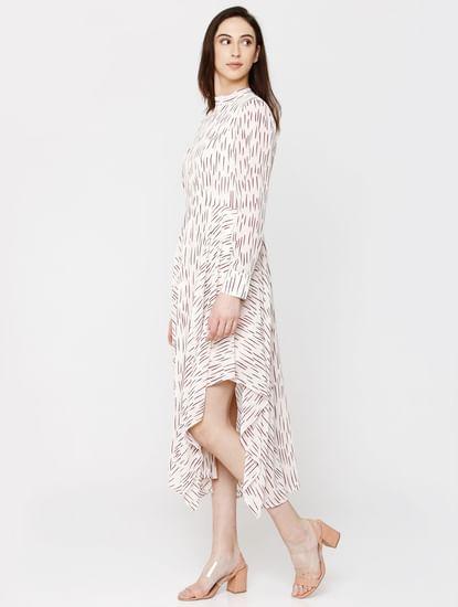 Off White Printed Asymmetric Hem Midi Dress
