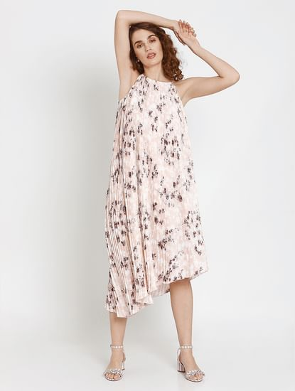 Pink Floral Print Asymmetric Hem Pleated Midi Dress