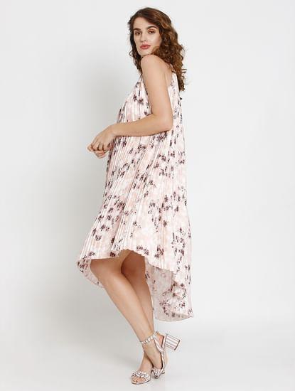 Pink Floral Print Asymmetric Hem Pleated Midi Dress