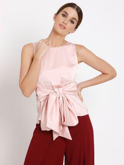 Pink Front Tie Top
