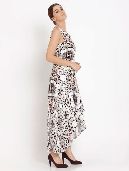 White Abstract Print Asymmetric Maxi Dress