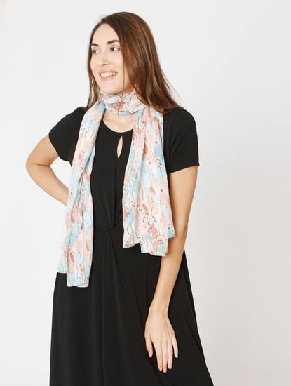 Vero More White Printed Scarf