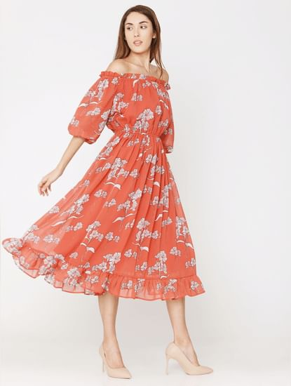Rose Floral Print Off Shoulder Midi Dress