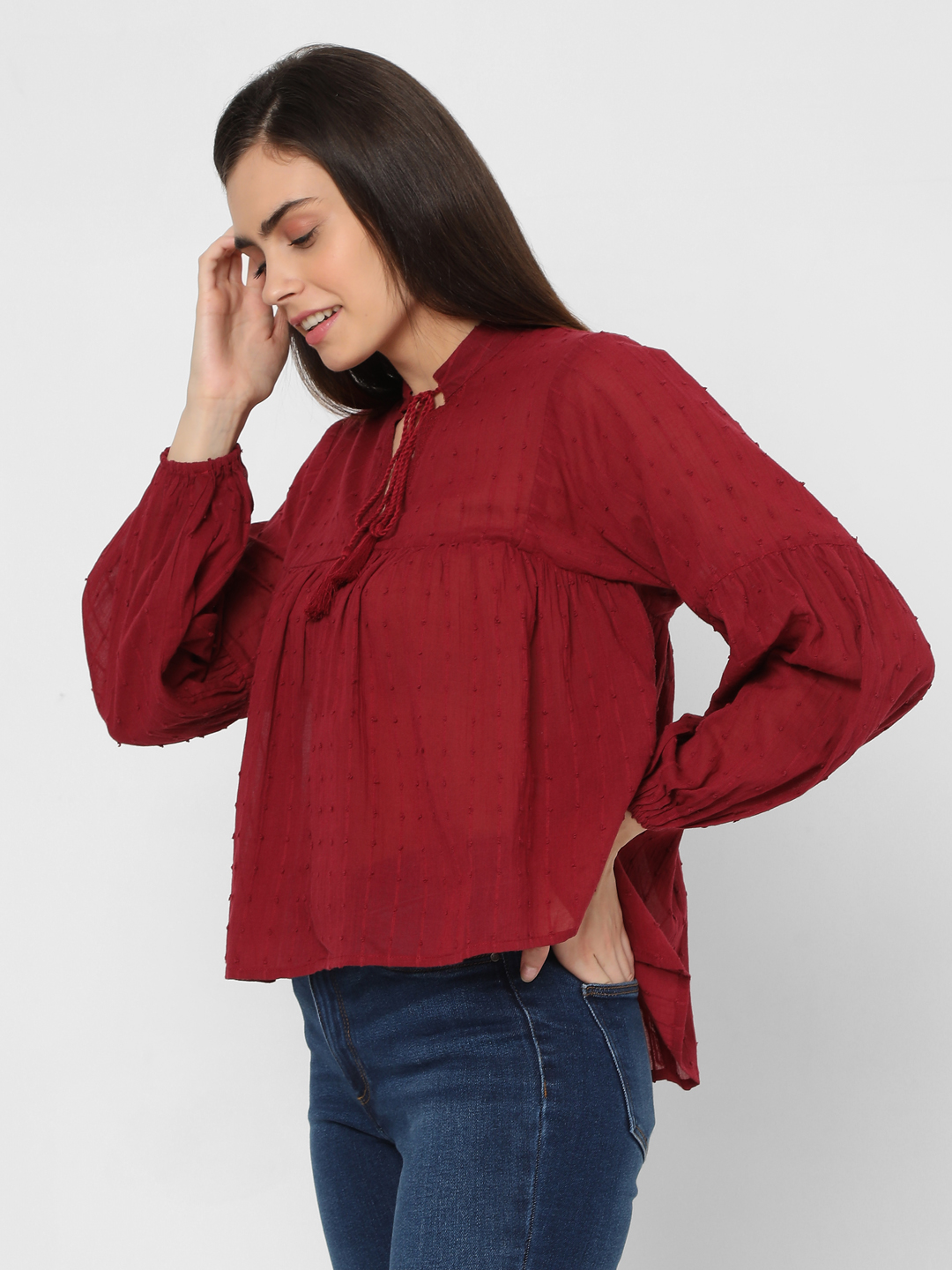 Red Textured Boho Top
