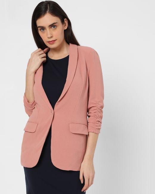 Pink Ruched Sleeve Blazer