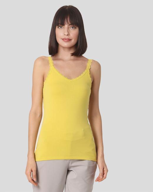 Yellow Lace Trim Singlet