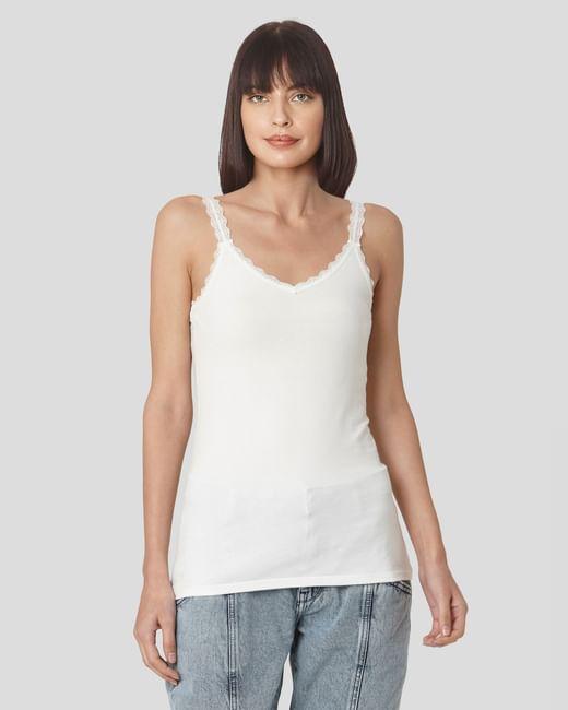 White Lace Trim Singlet