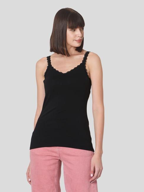 Black Lace Trim Singlet