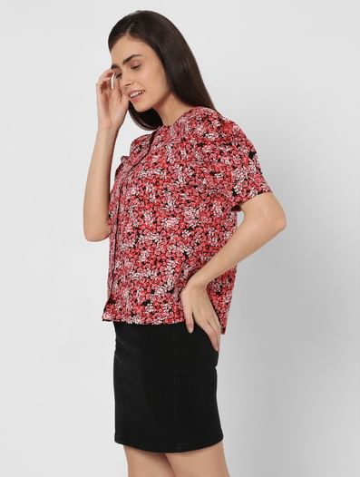 Red Organic Cotton Floral Top