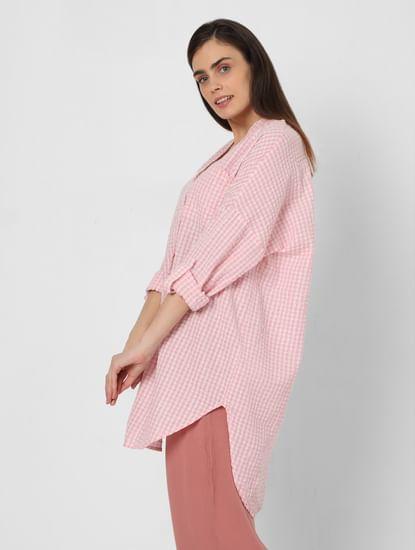 Pink Check Tunic Shirt