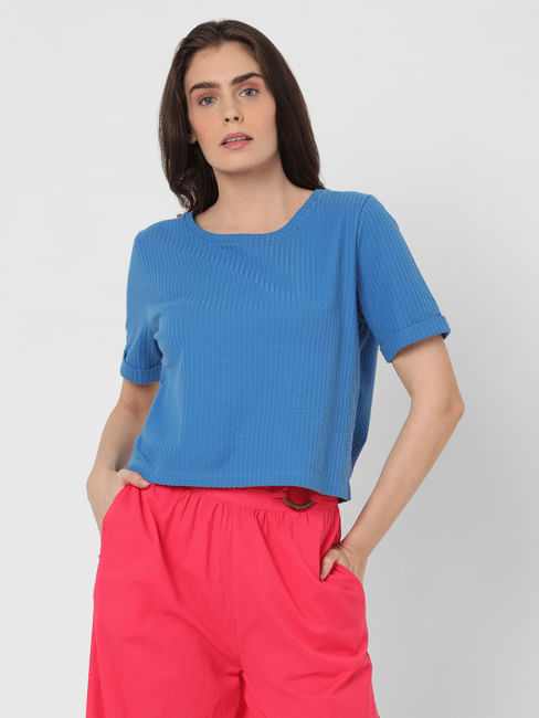 Blue Ribbed T-shirt
