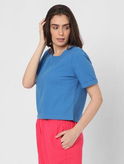 Blue Ribbed T-shirt