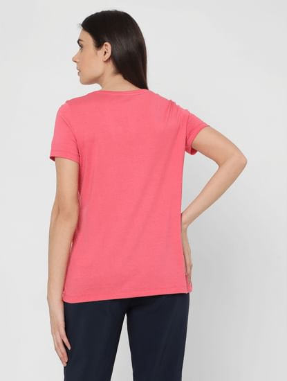 Pink Typography Print T-shirt