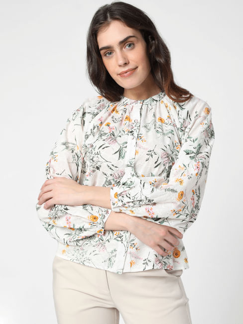 White Floral Schiffli Top