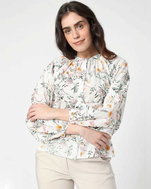 White Floral Schiffli Top
