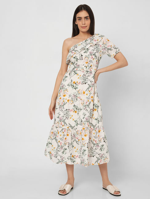 White Floral Schiffli Midi Dress