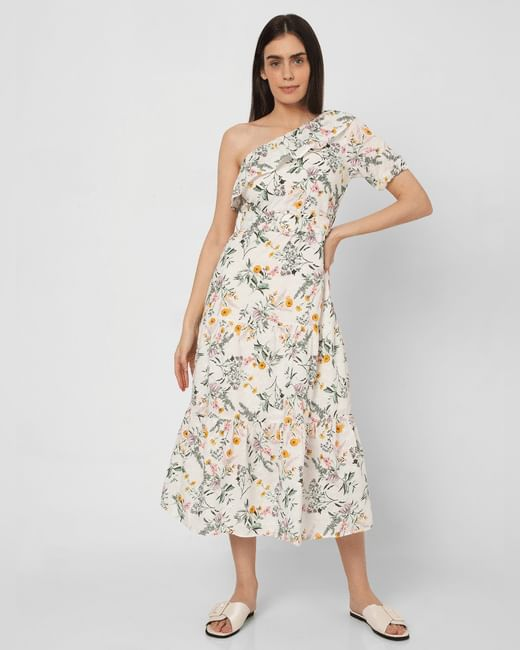 White Floral Schiffli Midi Dress