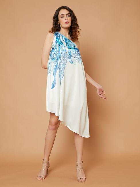 MARQUEE Beige One Shoulder Leaf Print Shift Dress