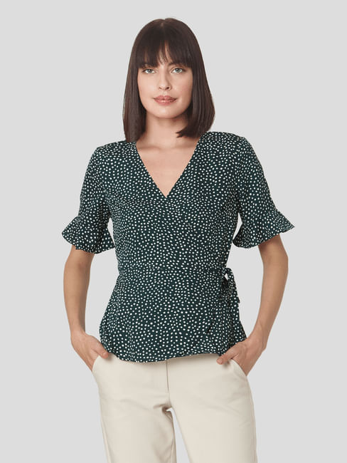 Dark Green Dotted Wrap Top