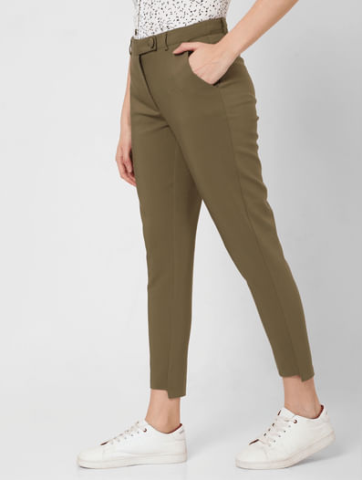 Green Mid Rise Slim Fit Trousers