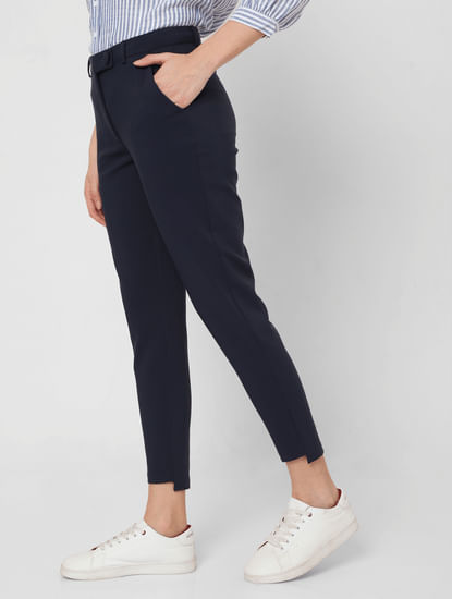 Blue Mid Rise Slim Fit Trousers