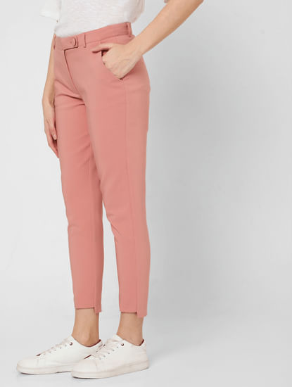 Pink Mid Rise Slim Fit Trousers