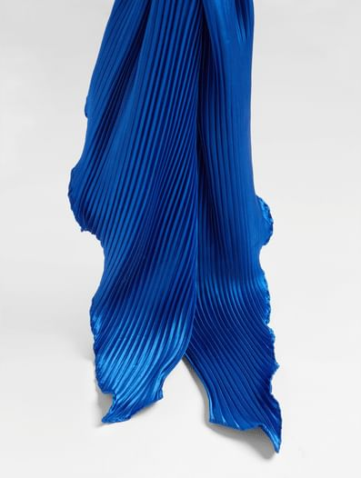 Blue Pleated Scarf