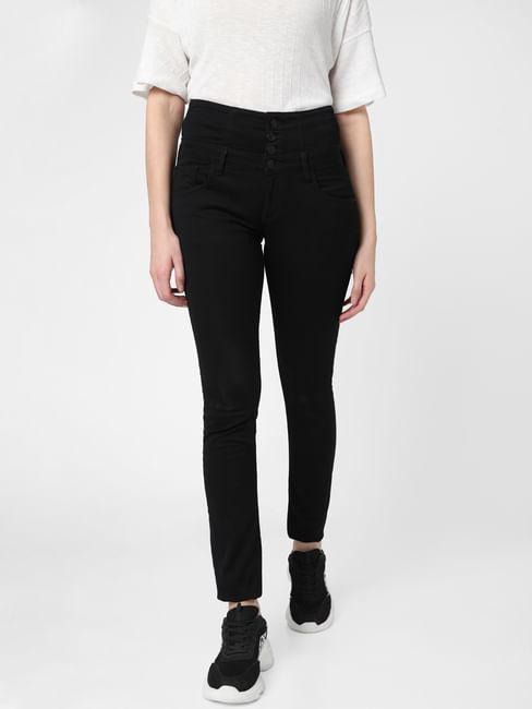 Black High Rise Reworked Waist Skinny Jeans