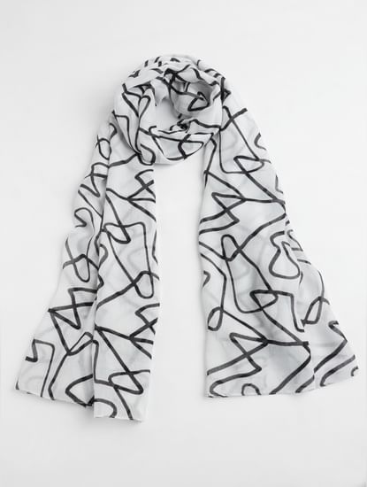 White Abstract Print Scarf