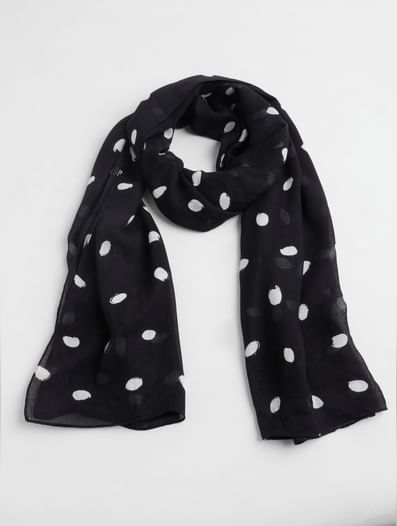 Black Dotted Scarf