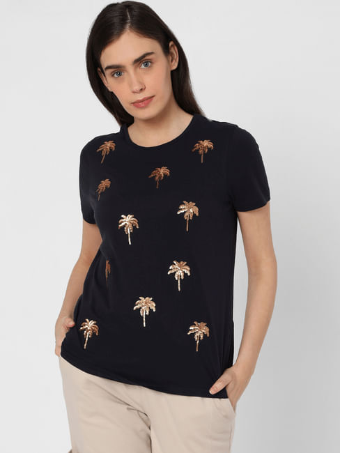 Blue Sequin Embroidered Palm T-shirt