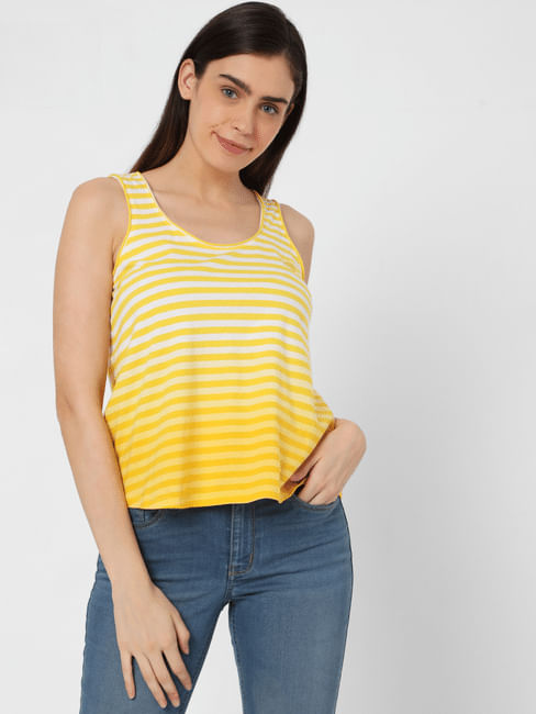 Yellow Ombre Striped Tank Top