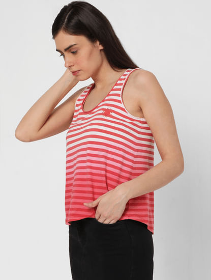 Red Ombre Striped Tank Top