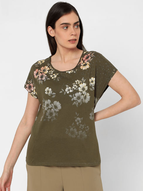 Green Ombre Floral T-shirt