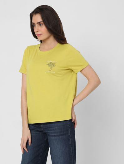 Green Rhinestone Graphic T-shirt