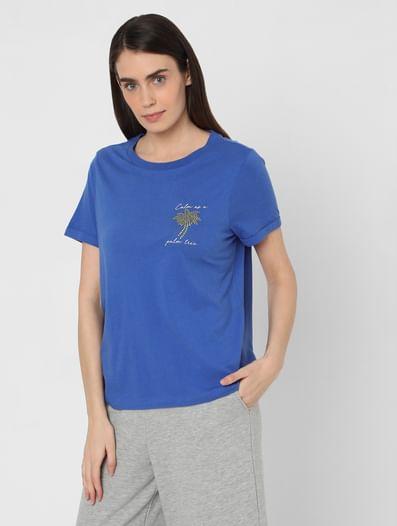 Blue Rhinestone Graphic T-shirt