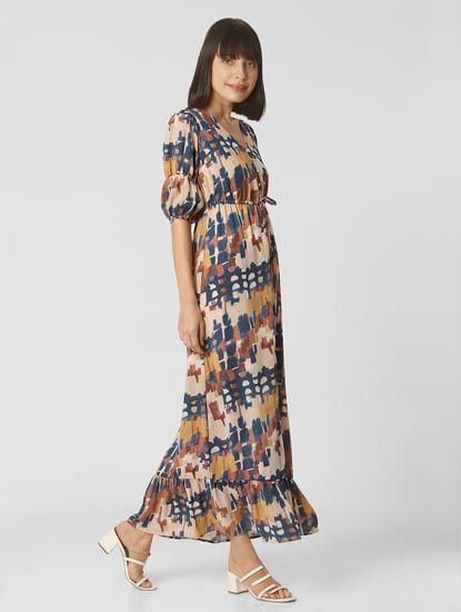 Beige Abstract Print Maxi Dress