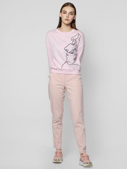 Light Pink Graphic Print Sweatshirt