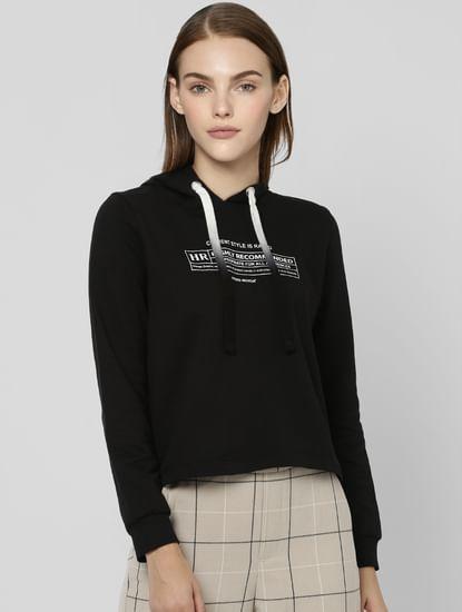 Black Text Print Hooded Sweatshirt