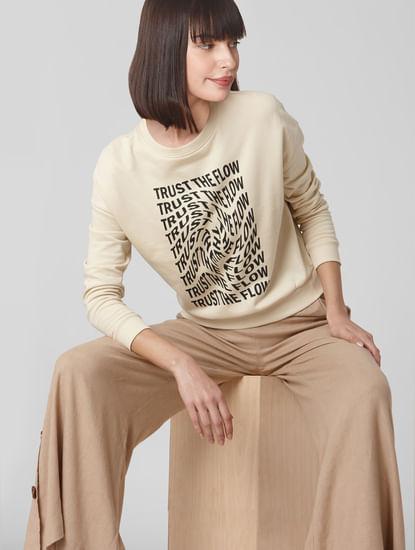 Beige Slogan Print Sweatshirt