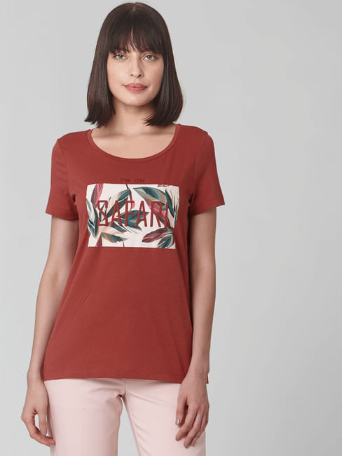 Brown Tropical Graphic Print T-shirt