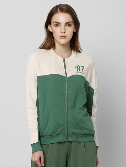 Green Colourblocked Sweatshirt