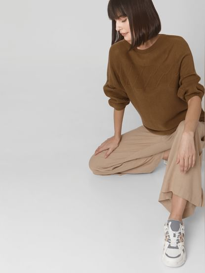 Brown Textured Sweater